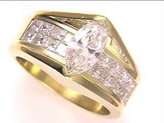 18k Yellow gold & Diamond Engagement Ring~*Marquise*