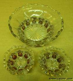 Antique Cranberry Flash Depression Pattern Glass Bowls