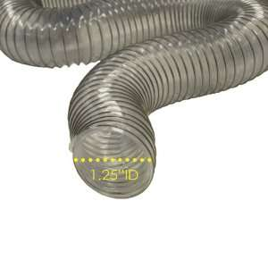 PVC Flexduct (Light Duty) Clear   Vent Hose   1.25 ID x 25ft Length