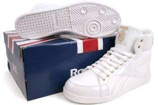 Reebok Mens Berlin Retro Style White/Gold Leather Basketball Shoes