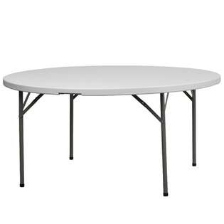 FlashFurniture Round Blow Molded Plastic Folding Table in Granite