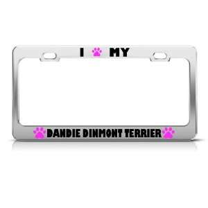 Dandie Dinmont Terrier Paw Love Dog license plate frame Stainless