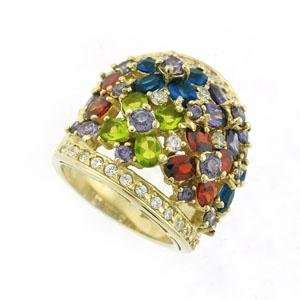Gold Plated Sterling Silver Ring with Multicolor CZ in a