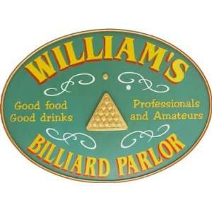 Personalized Billiard Parlor Wooden Sign 3295ds