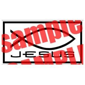 JESUS WITH FISH CHRISTIAN WHITE VINYL DECAL STICKER