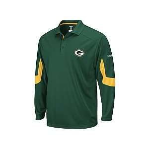 Reebok Green Bay Packers Mens Sideline Long Sleeve Polo
