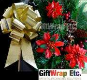 BIG GOLD STRIPE CHRISTMAS WREATH GIFT PEW PULL BOWS