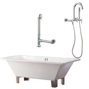 Tella 67 Contemporary Tub with Wall Mount Faucet and Lever Handles in