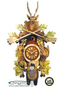 Black Forest Cuckoo Clock 8 Day Hunting Clock 23.2 NEW