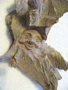 Wood Carving Tree Man Gnome Sculpture Face Wall Hanging