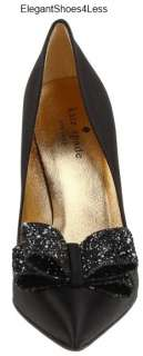 NIB Beautiful $325 Womens Kate Spade LATRICE Black Satin and Glitter