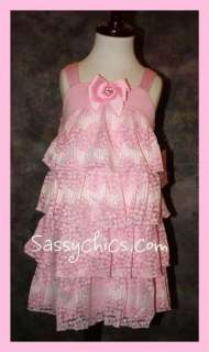 NWT LIPSTIK PAGEANT TICKLED PINK RUFFLED TIERS DRESS 12