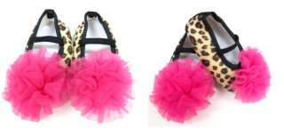 12M Baby Girl Pink Ruffle Mary Janes Shoes (Leopard/ Zebra/ Polka