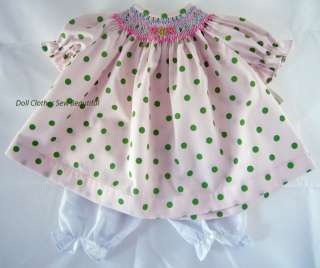 DOLL CLOTHES fits Bitty Baby Green Polka Dot Smocked Dress & Bloomers
