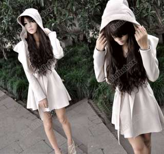 New Korean Womens Hoodie Jacket Trench Coat Outerwear Dress Unique