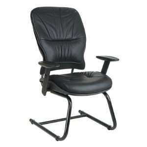 Leather Guest Chair With Height Adjustable Arms