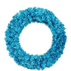 Cut Tinsel Artificial Christmas Wreath   Teal Lights