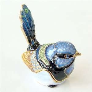 Blue Jay Bird Trinket Box with Swarovski Crystals