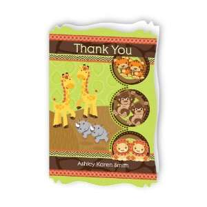 Safari Jungle   Personalized Baby Thank You Cards With Squiggle Shape