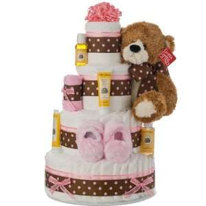 4 Tier Pink Contemporary Diaper Cake