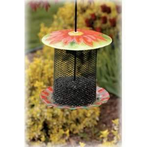 Bird Brain NinArt Glass & Mesh Bird Feeder Daisy Patio