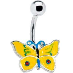 Yellow Aqua Chromatic Butterfly Belly Ring Jewelry