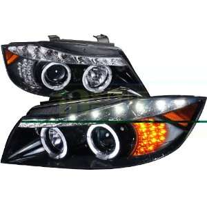08 Bmw E90 R8 Style Projector Headlight Gloss Black Housing Smoke Lens