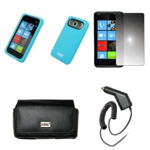 Case Pouch with Belt Clip and Belt Loops + Light Blue Silicone Skin