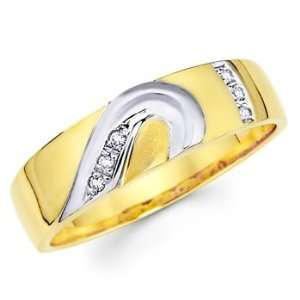Yellow and White 2 Two Tone Gold Mens Round cut Diamond Wedding Ring