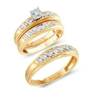 Rings Engagement Wedding Bands Yellow Gold Men Lady .25ctw, Size 8.5