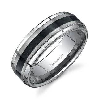 Unique Mens Two Tone Tungsten Wedding Band Slim 7mm Ring (Silver Black