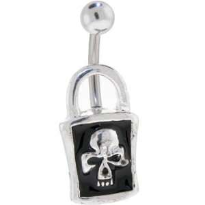 Black Skull Lock Belly Ring Jewelry