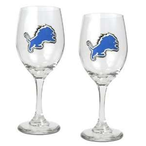 Detroit Lions NFL 2pc Wine Glass Set   Primary Logo