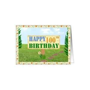 Happy 100th Birthday Sign on Footpath Card Toys & Games