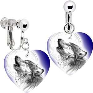 Heart Moon Howling Wolf Clip Earrings Jewelry