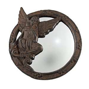 Rustic Cast Iron Angel Wall Mirror 9 Inch
