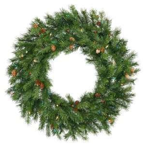 48 Pre Lit Redwood Pine With Cones Christmas Wreath   Multi Dura Lit