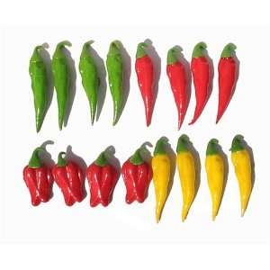 Hand Made Decorative Food Peppers Fridge Magnets 2.5h