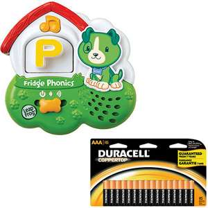 LeapFrog Fridge Phonics Magnetic Alphabet & Duracell AAA Batteries, 16