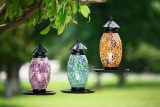 10 Pink Purple Mosaic Glass Metal Hanging Bird Feeder