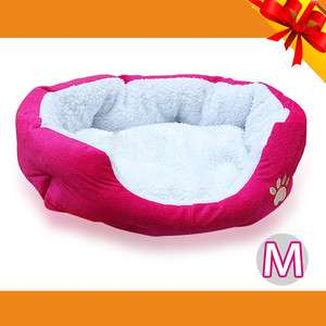 Warm Fleece Pet Bed Puppy Dog beds Cat Mat House Red Medium #