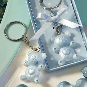 Baby Shower Favors Blue Teddy Bear Design Keychains 8319