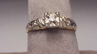 Antique 14K Two Tone Gold Diamond Engagement Ring