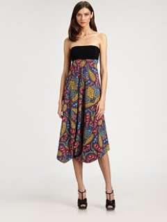 Nicole Miller   Strapless Stretch Silk Dress