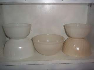 Vintage Fire King White Mixing Bowls ~ Swirl & Plain ~ 6in to 7 1