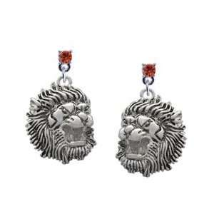Large Lion   Mascot Hyacinth Swarovski Post Charm Earrings